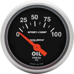 Autometer Sport Comp Oil Pressure Gauge 0-100 PSI