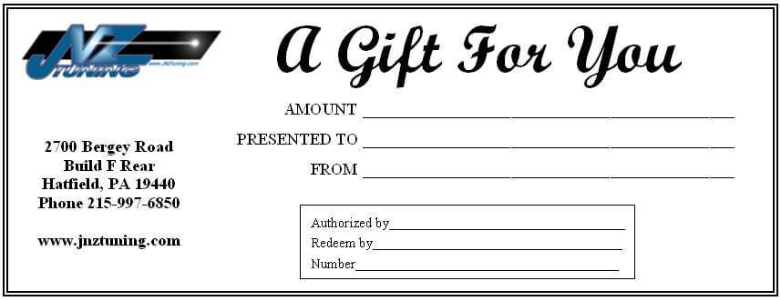 JNZ Tuning Gift Certificate-$100