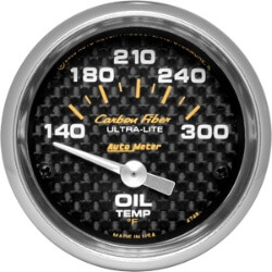 Autometer Carbon Fiber Oil Temp Gauge 140-300*F