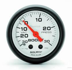 Autometer Phantom Boost Gauge 30 In Hg.-Vac./30 PSI