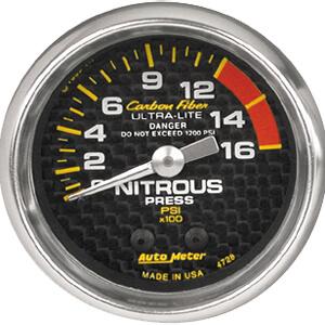 Autometer Carbon Fiber Nitrous Pressure Gauge 0-1600