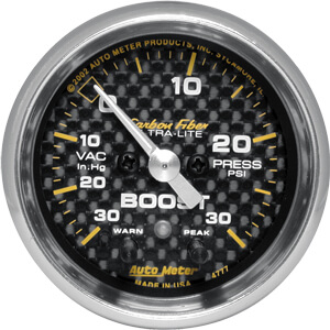 Autometer Carbon Fiber Boost/Vac. 30/30 Electronic Gauge