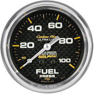 Autometer Carbon Fiber Mechanical Fuel Pressure Gauge