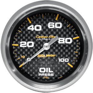 Autometer Carbon Fiber Oil Pressure Gauge, Mechanical- 0-100 PSI